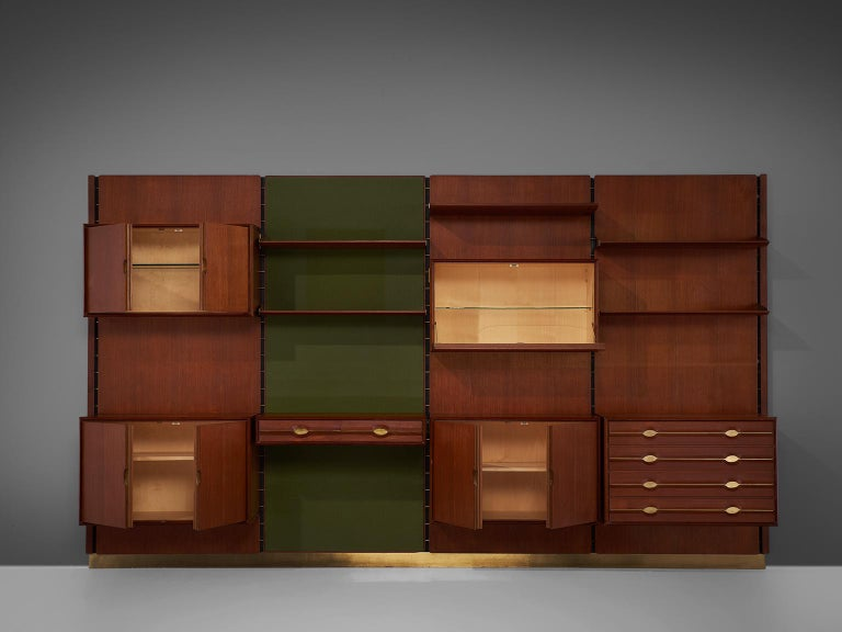 Mid-Century Modern Exquisite Teak and Brass Wall Unit by Cantú For Sale