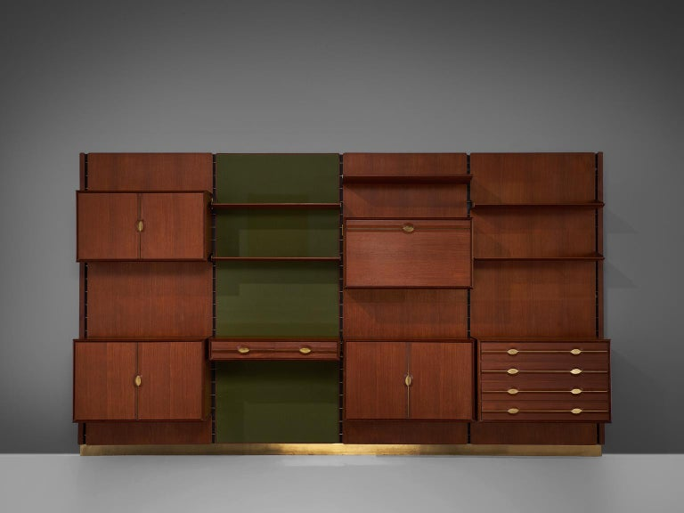 Italian Exquisite Teak and Brass Wall Unit by Cantú For Sale