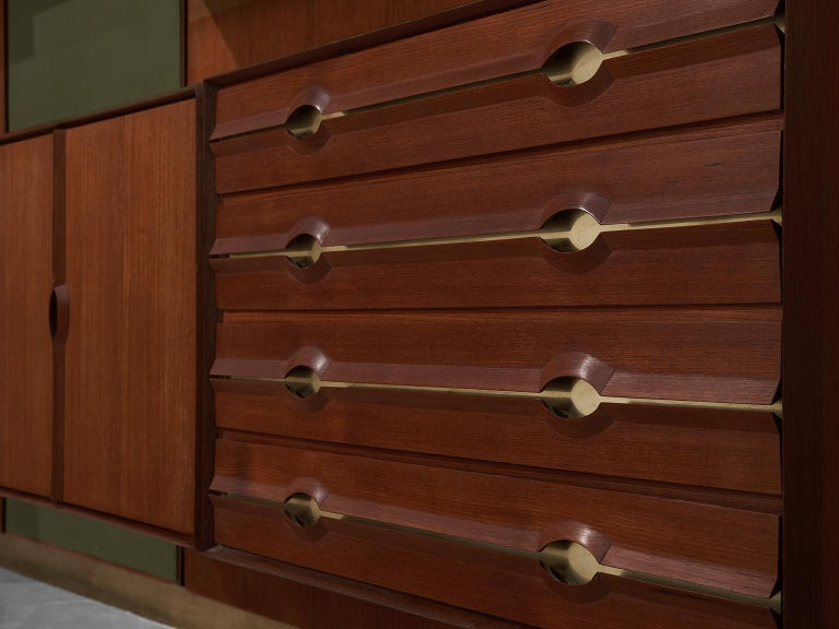 Exquisite Teak and Brass Wall Unit by Cantú In Good Condition For Sale In Waalwijk, NL