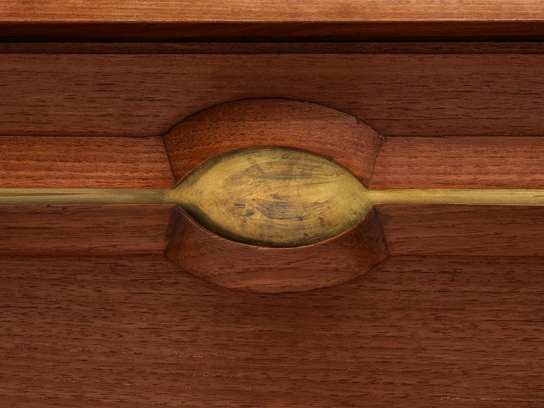 Exquisite Teak and Brass Wall Unit by Cantú For Sale 1