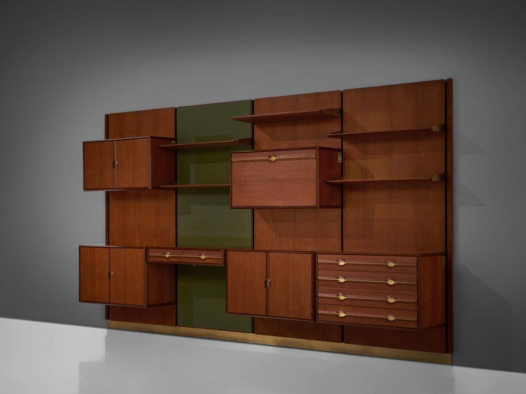 Exquisite Teak and Brass Wall Unit by Cantú For Sale 2