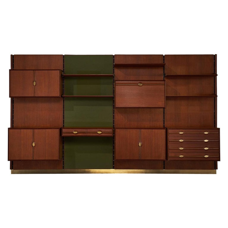 Exquisite Teak and Brass Wall Unit by Cantú For Sale