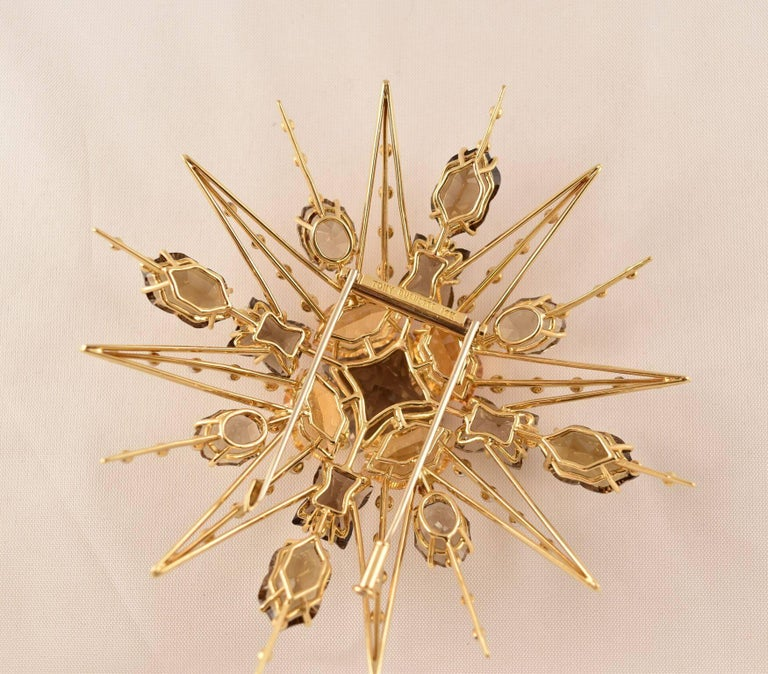 """Stunning Citrine, Smoky Quartz and Diamond Statement Brooch, hand crafted in 18k Gold by Tony Duquette, Designer Extraordinaire! Citrine (app. 38 ct.); Smoky Quartz (app. 47ct); Diamond (app. 0.55ct);  3.75"""" long x 3.75"""" wide; Signed: TONY DUQUETTE"""