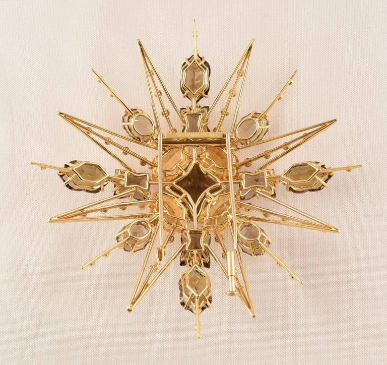 Contemporary Exquisite Tony Duquette Citrine, Smoky Quartz and Diamond Gold Brooch Pin For Sale