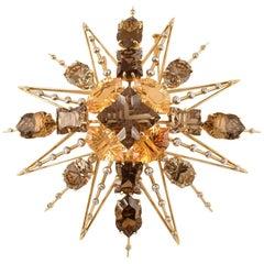 Exquisite Tony Duquette Citrine, Smoky Quartz and Diamond Gold Brooch Pin