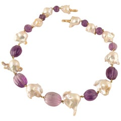 Exquisite Tony Duquette Fluted Amethyst and Pearl Statement Necklace