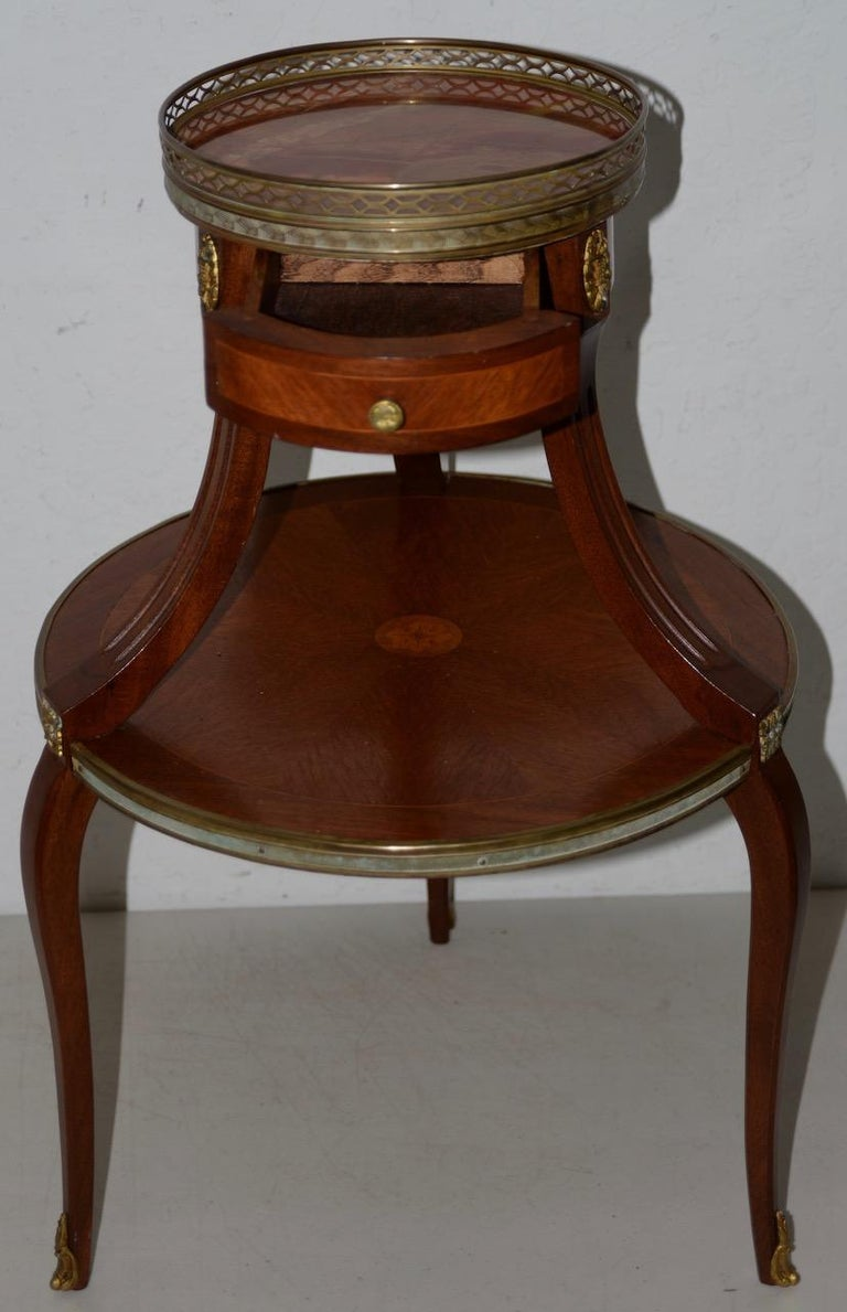 Hand-Carved Exquisite Two-Tier Italian Mahogany & Marble Side Table, circa 1910 For Sale