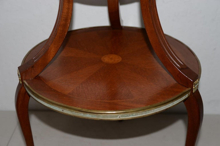 20th Century Exquisite Two-Tier Italian Mahogany & Marble Side Table, circa 1910 For Sale