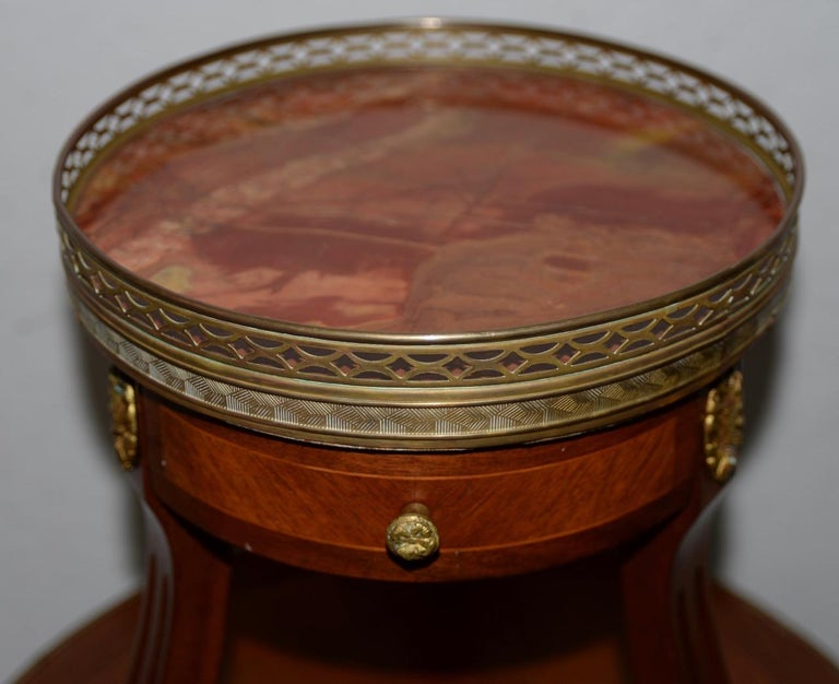 Exquisite Two-Tier Italian Mahogany & Marble Side Table, circa 1910 For Sale 3