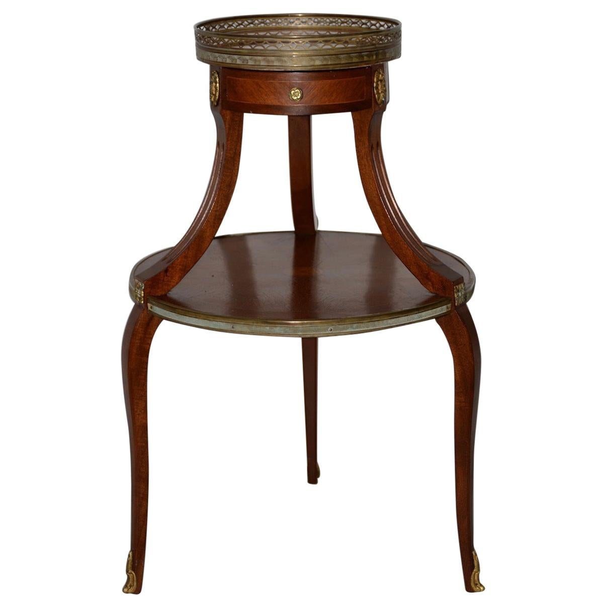 Exquisite Two-Tier Italian Mahogany & Marble Side Table, circa 1910