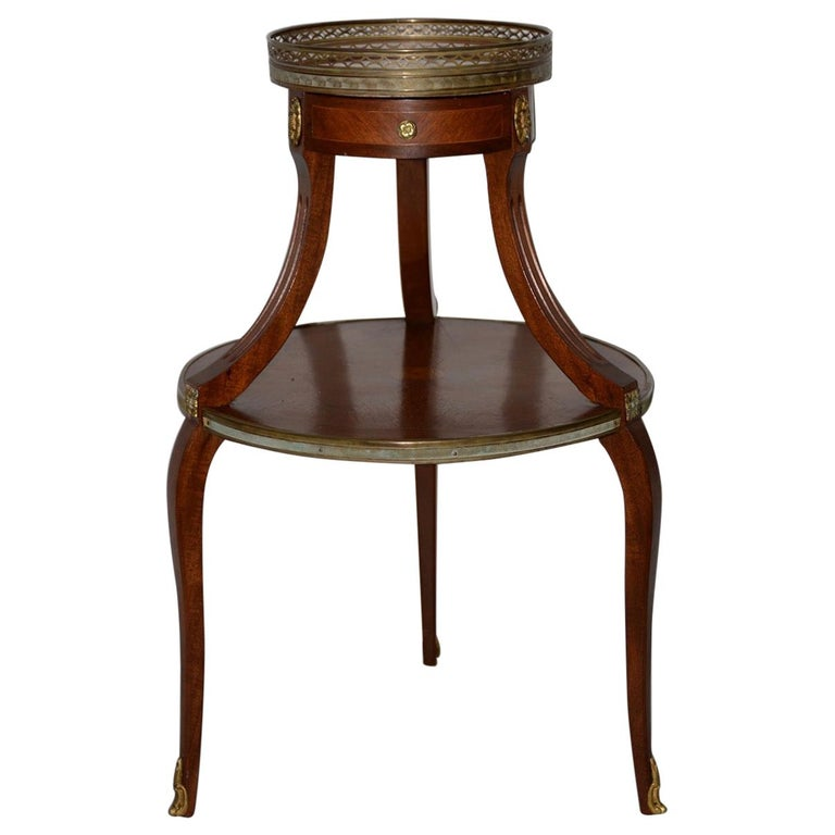 Exquisite Two-Tier Italian Mahogany & Marble Side Table, circa 1910 For Sale