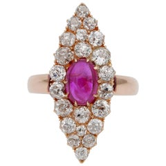 Exquisite Victorian Burma Ruby and Diamond Marquee Ring