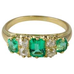 Exquisite Victorian Colombian Emerald Old Mine Diamond Seven Stone Ring