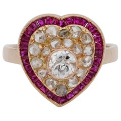 Exquisite Victorian Diamond Ruby Rare Heart Ring