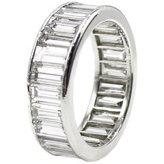 Wide Baguette Diamond Platinum Exquisite Eternity Band