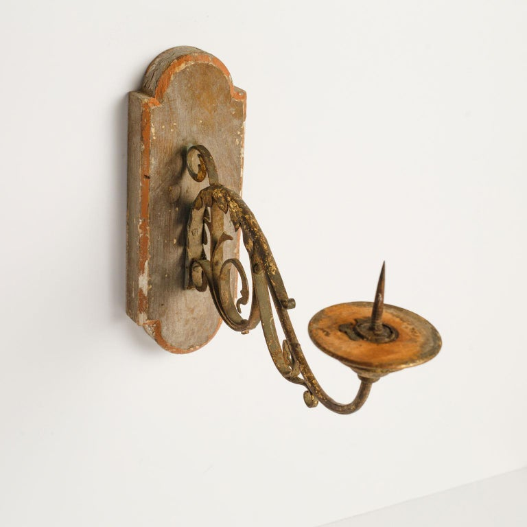 French Provincial Exquisite Wood and Iron Sconce For Sale