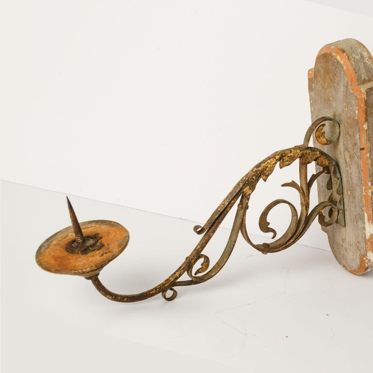 Hand-Carved Exquisite Wood and Iron Sconce For Sale