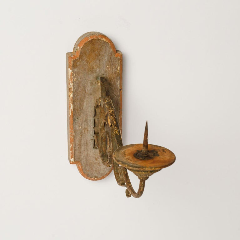 19th Century Exquisite Wood and Iron Sconce For Sale