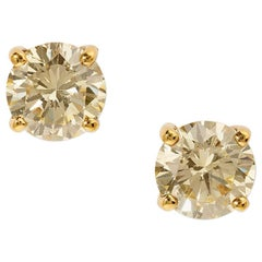 Exquisite Light Yellow Diamond Earrings in Yellow Gold
