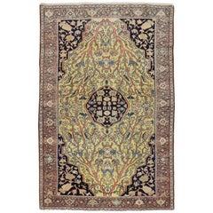 Exquisite Yellow Persian Sarouk Ferahan Rug