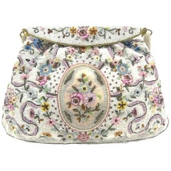 Exquisitely beaded handbag, with floral motifs, Morabito, Paris, 1950s