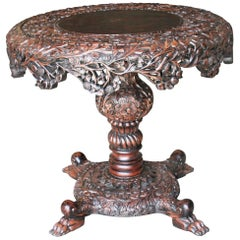 Exquisitely Carved Solid Teak Wood Round Center Table from a Colonial Mansion