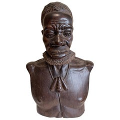 Exquisitely Hand Carved Bust of Very Powerful Handsome Almost Life-Size Man