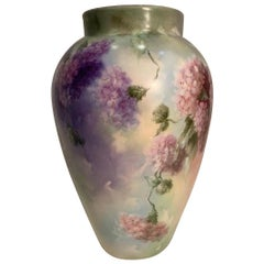 Exquisitely Painted Large Delinieres Limoges French Porcelain Ovoid Shaped Vase