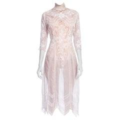Exquisite Princess Line Belle Epoch Organic Cotton Voile + Lace Tea Dress 1890
