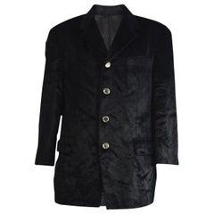 Extempore Men's Vintage Black Faux Fur Blazer Jacket, 1990s