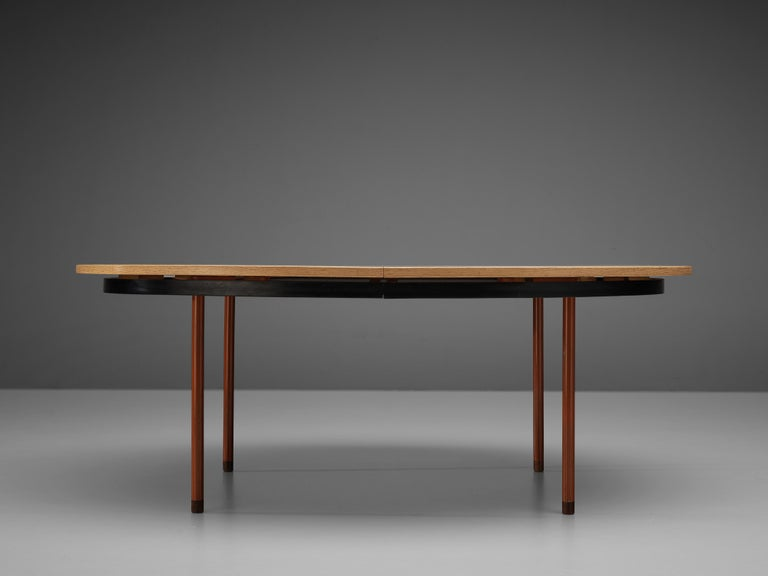 Extendable Danish Dining Table in Oak with Red Metal Legs For Sale 5