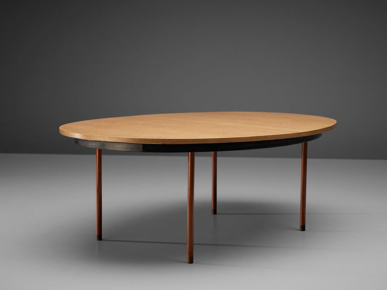 Extendable Danish Dining Table in Oak with Red Metal Legs For Sale 6
