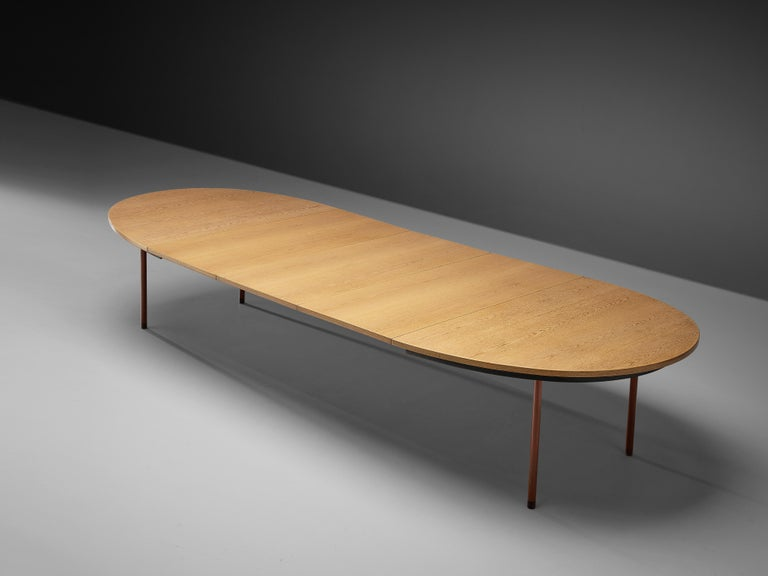 Extendable Danish Dining Table in Oak with Red Metal Legs For Sale 1