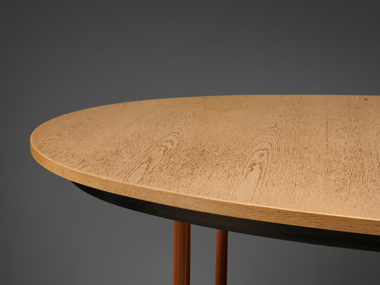 Extendable Danish Dining Table in Oak with Red Metal Legs For Sale 3