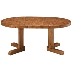Extendable Danish Dining Table with End-Grain Tabletop