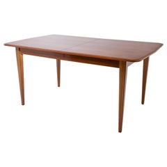 Extendable Dining Table with Brass Inlays, France, Mid-20th Century