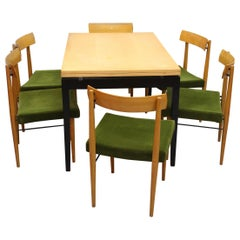 Extendable Dining Table with Six Chairs Vienna 1950 Soziales Wohnen