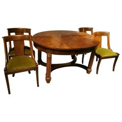 Extendable French Empire Style Dining Table in Mahogany-Burr with Four Chairs