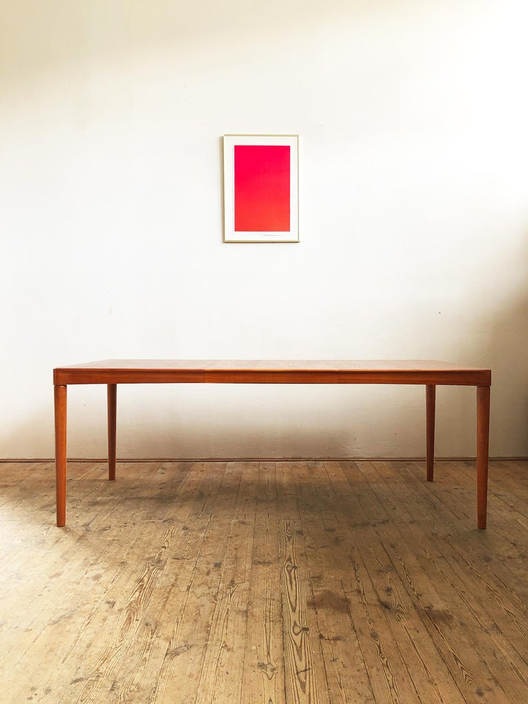 Danish Extendable Midcentury Teak Dining Table by H.W. Klein for Bramin, Denmark For Sale