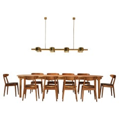 Extendable Oak Dining Table with 'Louisiana' Chairs and Jakobsson Chandelier