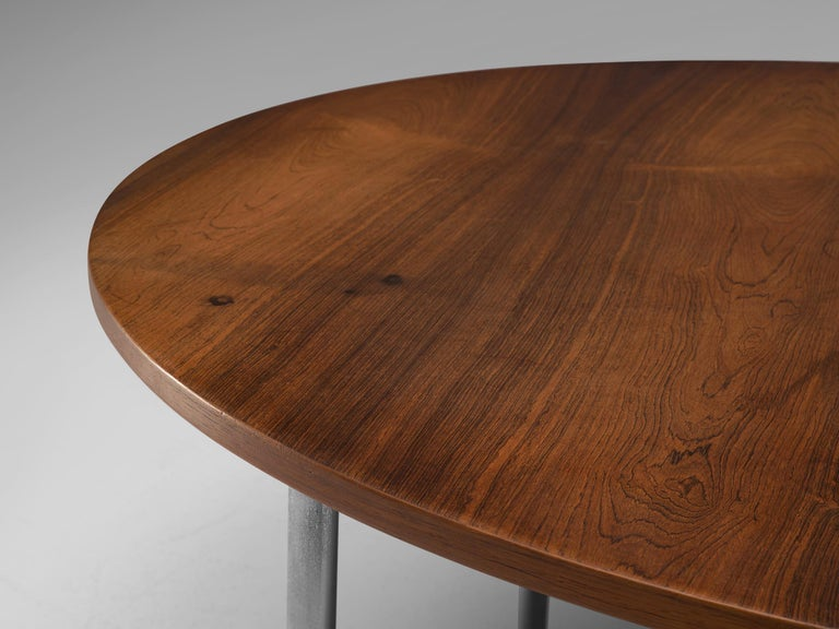 Metal Extendable Rosewood Table by Hans Wegner for Andreas Tuck For Sale