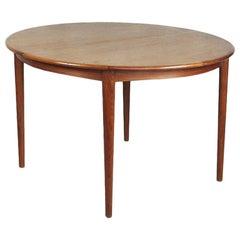 Extendable Round Vintage Scandinavian Teak Dinning Table, 1960s