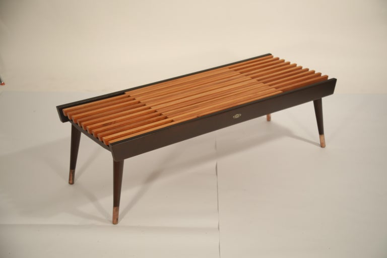 Extendable Slatted Wood Bench or Coffee Table by Maruni, 1950s Hiroshima Japan For Sale 4