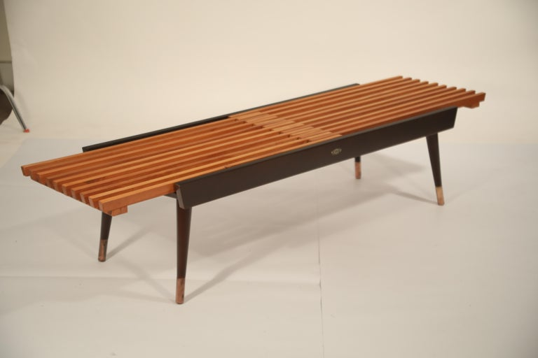 Extendable Slatted Wood Bench or Coffee Table by Maruni, 1950s Hiroshima Japan For Sale 5
