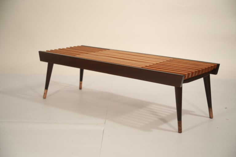 Extendable Slatted Wood Bench or Coffee Table by Maruni, 1950s Hiroshima Japan For Sale 6