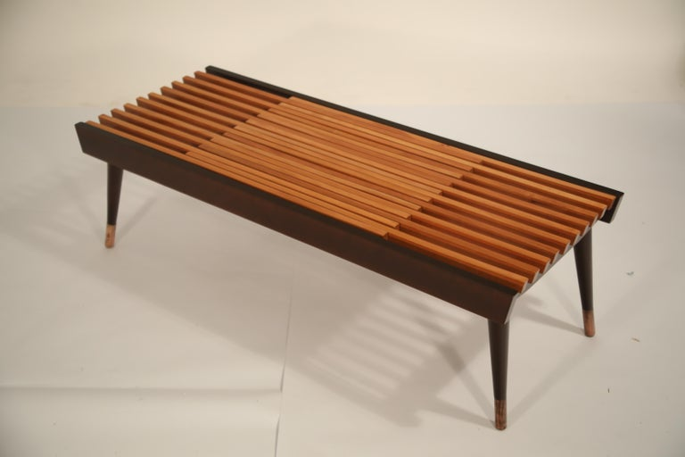 Extendable Slatted Wood Bench or Coffee Table by Maruni, 1950s Hiroshima Japan For Sale 7
