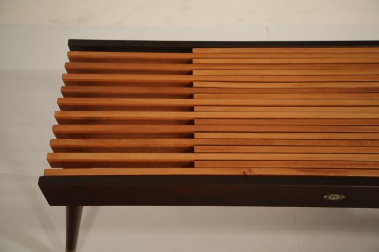 Extendable Slatted Wood Bench or Coffee Table by Maruni, 1950s Hiroshima Japan For Sale 9