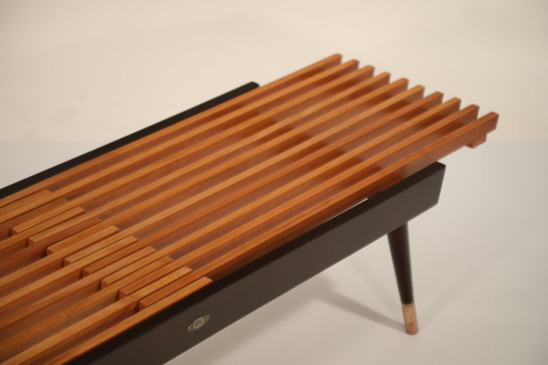 Extendable Slatted Wood Bench or Coffee Table by Maruni, 1950s Hiroshima Japan For Sale 11