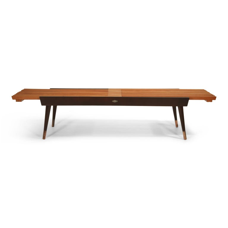 Japanese Extendable Slatted Wood Bench or Coffee Table by Maruni, 1950s Hiroshima Japan For Sale