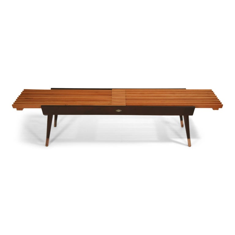 Mid-20th Century Extendable Slatted Wood Bench or Coffee Table by Maruni, 1950s Hiroshima Japan For Sale